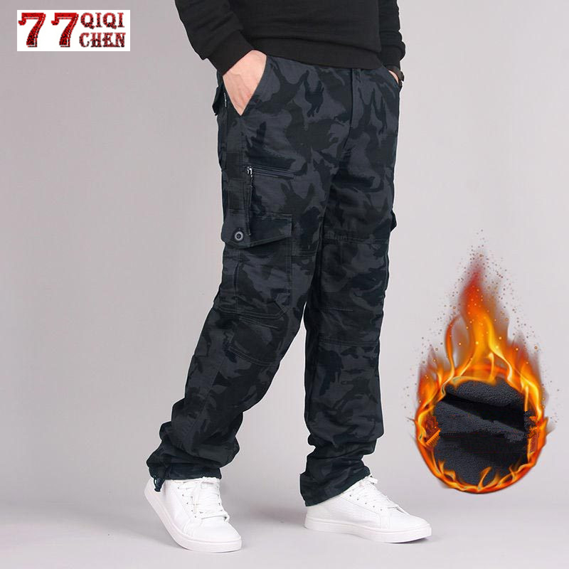 Winter Double Layer Cargo Pants Men Straight Fleece Trousers Combat Baggy Multi Pockets Joggers Military Tactical Pants Overalls