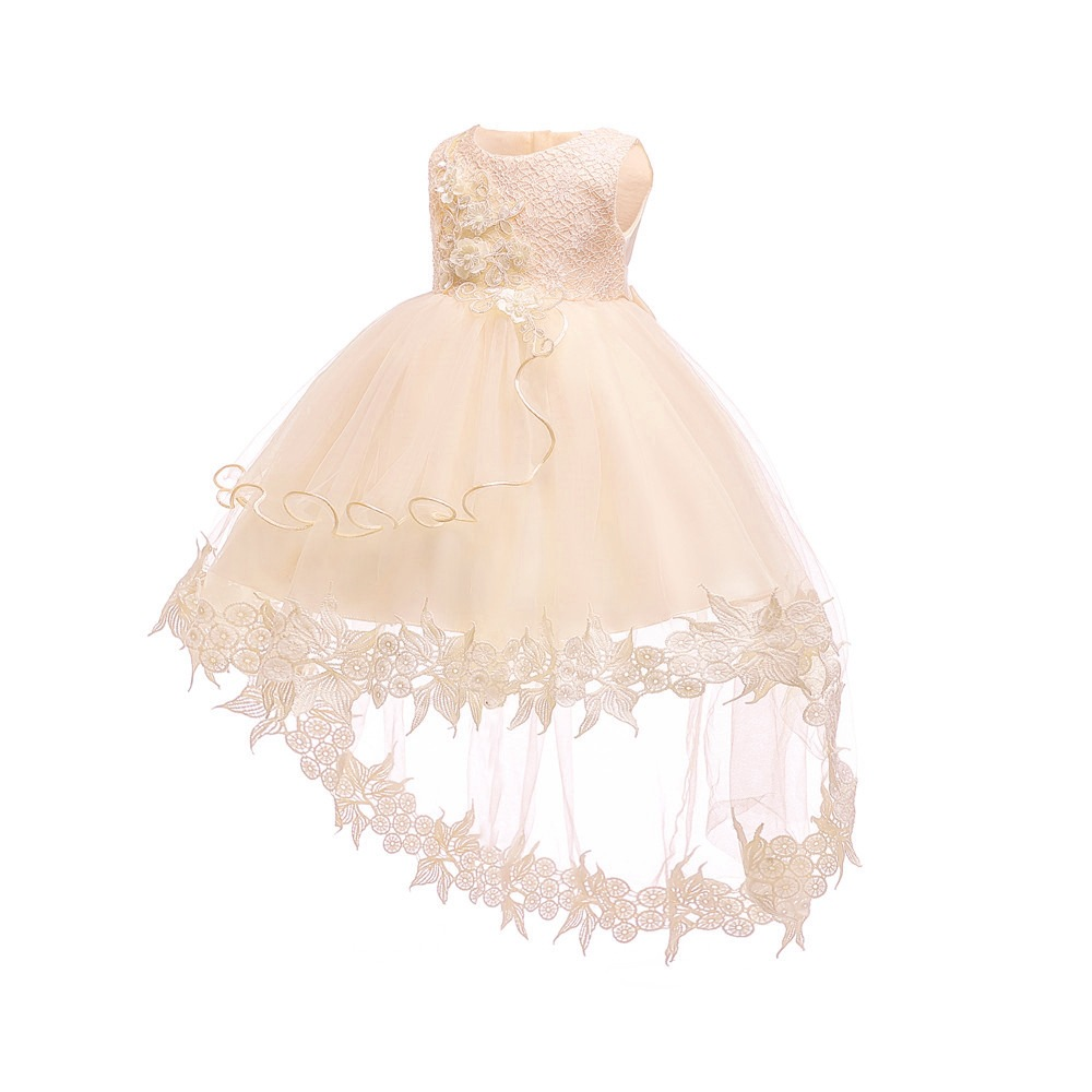 Wish Hot Selling GIRL'S Gown Lace Europe And America Infant Princess Dress Pink Tailing A Year Of Age Photography Clothing