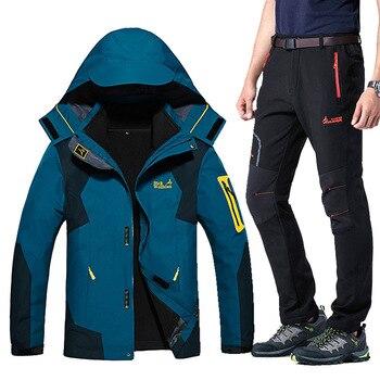 Winter Ski Suit For Men Warm Windproof Waterproof Skiing Snowboard Jacket Set Male Outdoor Snow Ski jacket +Softshell Pants Set