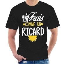 Camisetas de moda corta para hombres 100% cuello redondo estampado personalizado hombres Frais comme un ricard vino @ 046096