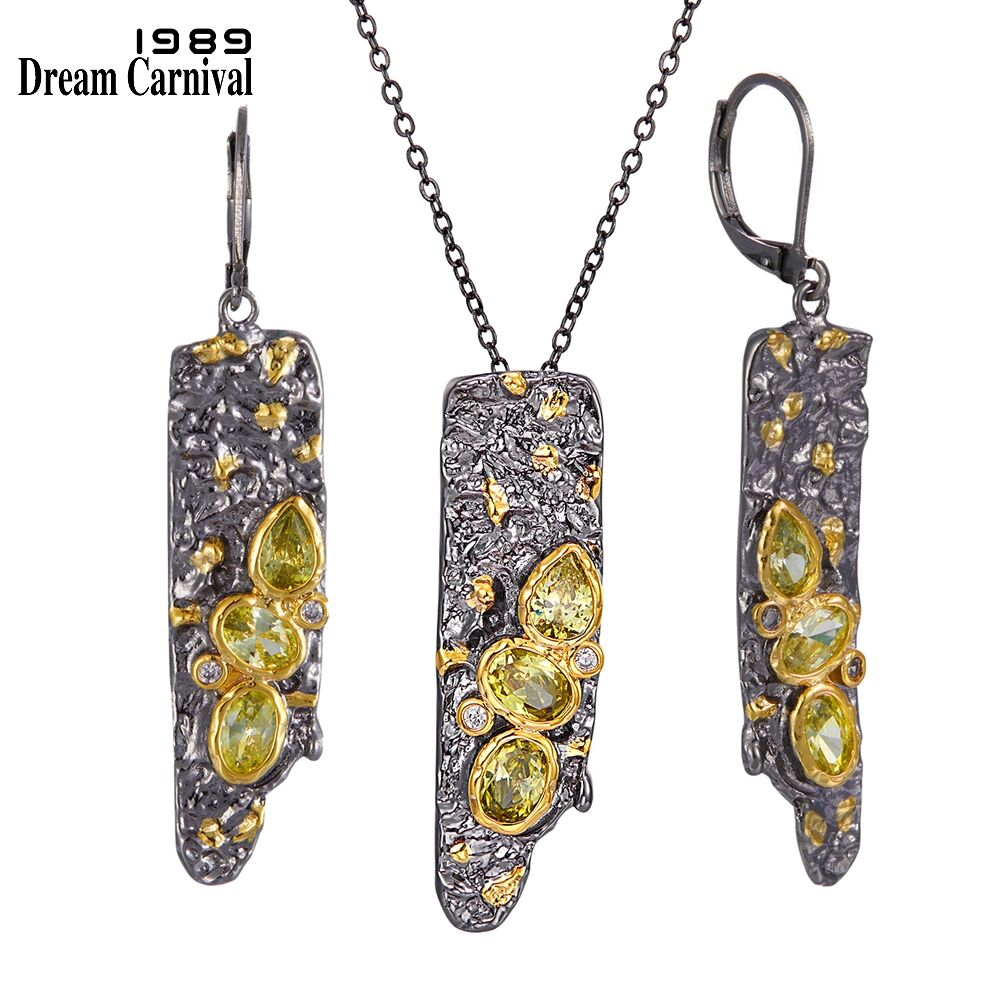 DreamCarnival1989 New Arrive Gothic Earrings Pendant Necklace Set for Women Black Gold Color Vintage Unique Olivine CZ EP3992S2(China)