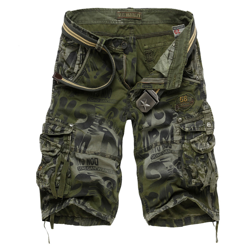 Men's Camouflage Shorts 2020 Summer Army Cargo Shorts Workout Shorts Loose Casual Trousers Plus Size 29-40 No Belt