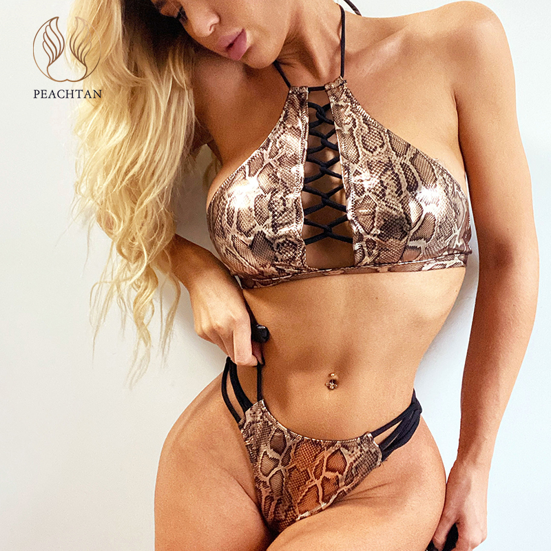 Peachtan Sexy Shiny Bikini Set 2020 Snake Print Swimwear Women Lace Up Swimsuit Female Halter Bathing Suit Extreme Bikini New