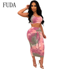 FUDA Two Pieces Sets Maxi Long Bodycon Dress Women Elegant Sexy Dress Hollow Out Sleeveless Slim Party Dresses Ladies Club Wear цена и фото