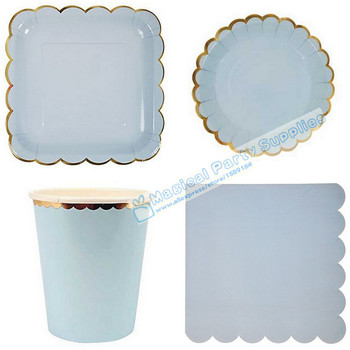 24 set Pastel Blue Party Tableware Foil Gold Large Squae Paper Plates Wedding Dinner Dishes Cups Scallop Napkins Birthday Favor