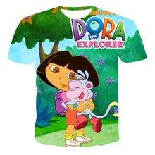 Dora Explorer-Children's Cartoon T-shirt Fashionable Cute 3D Printing Boy Clothes 2021