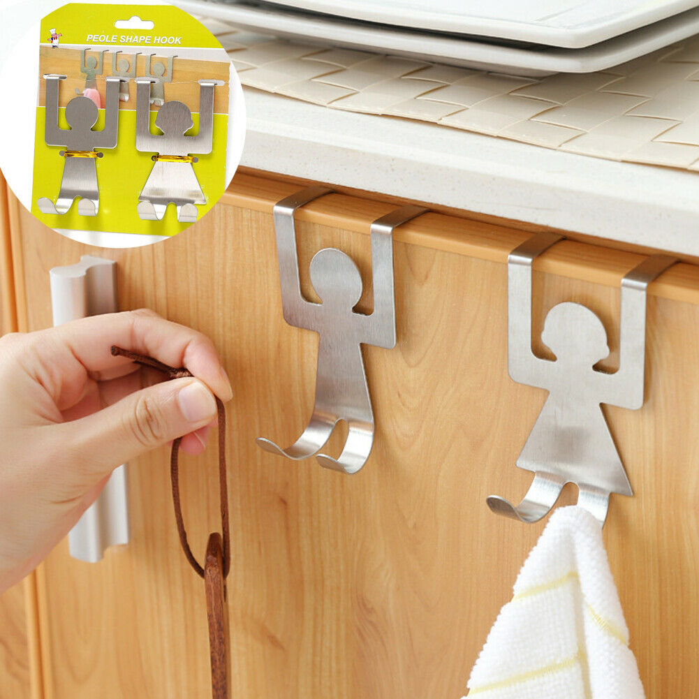 2PCS Creative Hooks For Hanging Cabinets Bag Cartoon Humanoid Door Back Hook Storage Hook Kitchen Bathroom Accessories Hot Sale