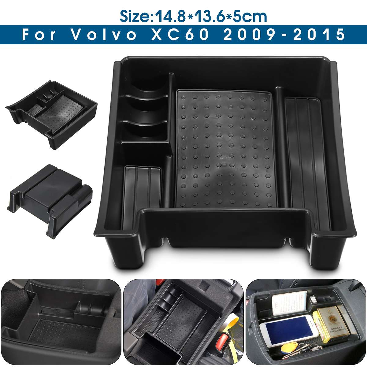 Car Armrest Center Console Storage Box Glove Box Container For VOLVO XC60 S60 V60 2009 2010 2011 2012 2013 2014 2015