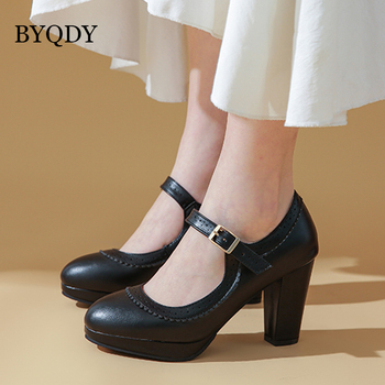 BYQDY Spring High Heels Women Pumps Platform Mary Jane Shoes Buckle Ladies Party Hoof Heel Female Pumps European Shoes Plus Size 2018 new plus big size 34 47 yellow multi buckle zip fashion sexy high heel spring summer female lady shoes women pumps d1177 page 8