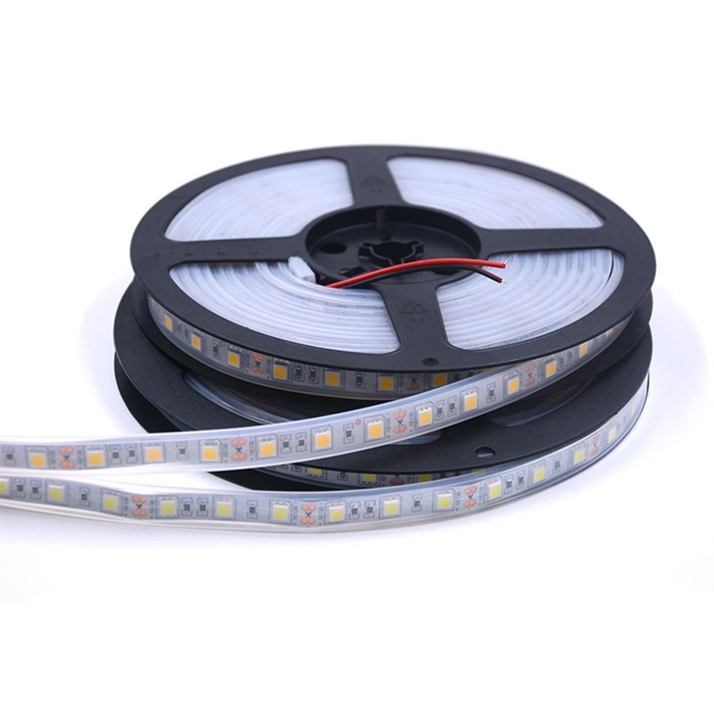 IP68 Waterproof LED Strip 5050 DC12V LED Tape Fexible High Quality White Warm LED Strip Light 300LEDs 5m/lot