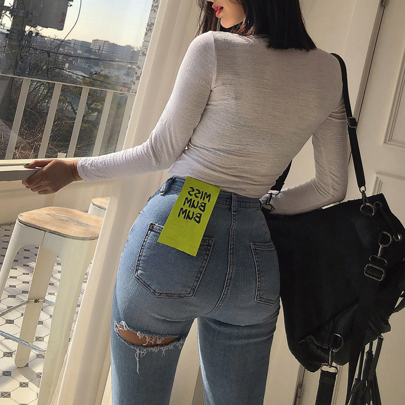 After The Hole Ass Tight Jeans Women 2020 Europe And The United States Net Red Sexy Nine Peach Hip Slimming Ankle Pants Autumn