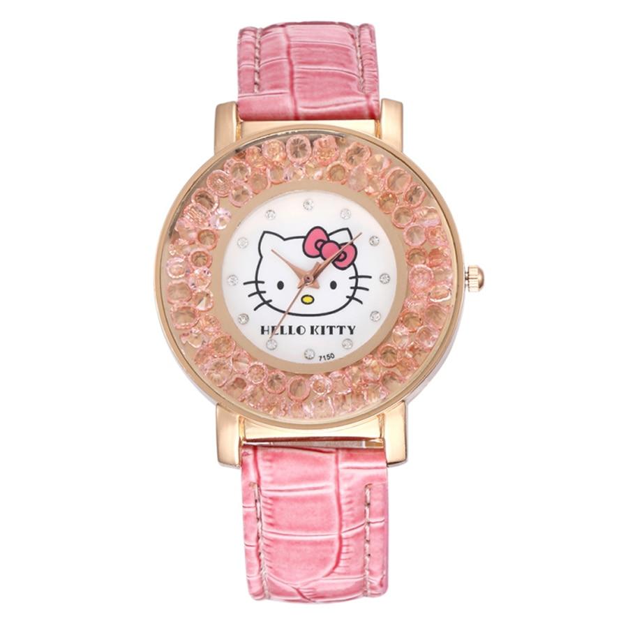Hello Kitty Kids Watches Casual Fashion Crystal Dial Girls Watch Cute Rhinestone Girl Quartz Clock Children Gift Erkek Kol Saati