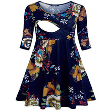 Europe And America Hot Selling Pregnant Women Nursing Dress-Style Printed Joint Multi-functional Mom