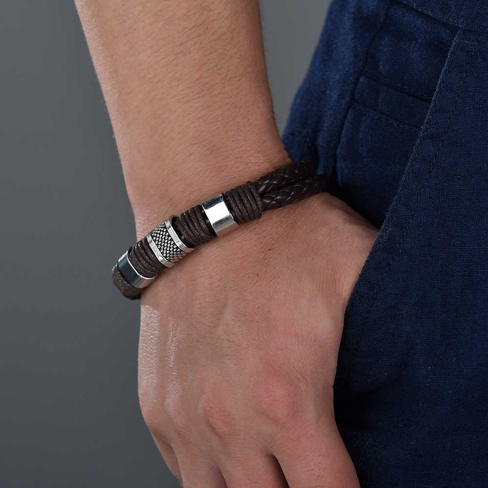 多層編組レザーブレスレット男性ステンレス鋼磁気クラスプトレンディ男性ブレスレット織バングル腕章 pulsera hombre