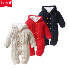 IYEAL Thick Warm Infant Baby Rompers Winter Clothes Newborn Baby Boy Girl Knitted Sweater Jumpsuit Hooded Kid Toddler Outerwear  стоимость