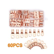 цена на 60PCS Gold SC Tinned Copper Lug Ring Wire Connectors for Battery Bare Cable Electric Wire Connector Crimp Terminal Set