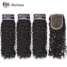 Двойные нарисованные волосы Funmi, пучки с закрытием, пряди человеческих волос, плетение, бразильские волосы, не Реми, 4x4, кружевное закрытие, н...