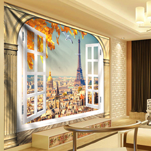 Window Scenery Flowers Tapestry Living Room Paris Tower Wall Hanging Dorm Decor Carpet tapisserie murale tissus gobelin New