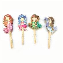24pcs cartoon mermaid cupcake topper picks kid birthday party decoration