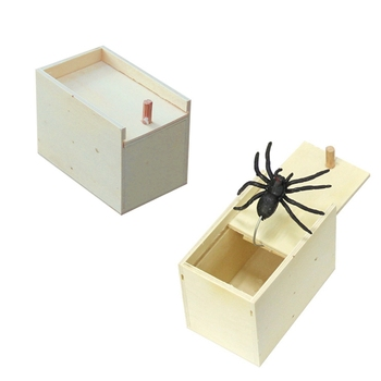 Spider Wooden Scare Box Halloween Horror Props Simulation Prank Spider Trick Spoof Spider Toys Children Funny Joking Toys Gift halloween scary party scene spider decorative props joking birthday toys diy halloween simulation plush spider decorative