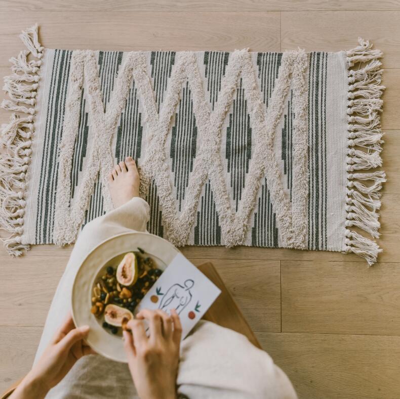 Géométrique rétro tapis coton lin canapé salon chambre à coucher artisanal glands tapis Table basse coureur Jacquard tapis de sol