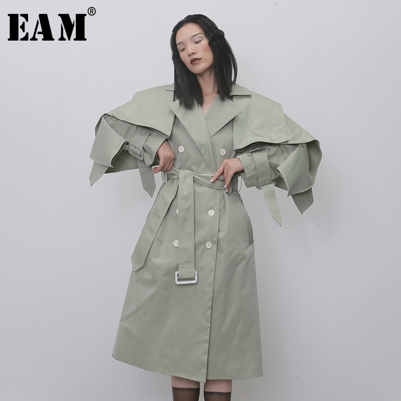 [EAM] Women False Two Split Big Size Trench New Lapel Long Sleeve Loose Fit Windbreaker Fashion Tide Autumn Winter 2019 1H271