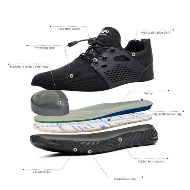 MWSC Safety Work Shoes Boots For Men Light Weight Steel Toe Work Boots Male Anti-smashing Construction Safety Sneakers Plus Size 1