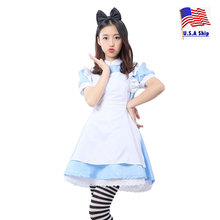 Adult Alice In Wonderland Costume Cosplay for Women Maid Uniform Lolita Dress Halloween Party Carnival Mardi Gras Fancy