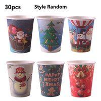 Кухонные 30 шт рождественские бумажные стаканчики одноразовые бумажные тарелки вечерние принадлежности, домашний декор креативные экологи...