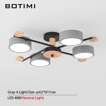 BOTIMI Indoor LED Chandelier For Master Bedroom Modern Wooden Study Room Lustres Ceiling Mounted Living Room Chandeliers 7