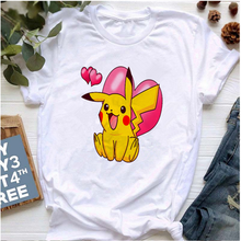 Women's T-Shirt Top Short-Sleeve Pokemon-Printed Cartoon Cute Casual O-Neck Mayos