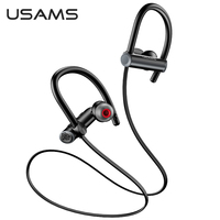 USAMS Sports Bluetooth 5.0 Headphone Sweatproof Neckband Wireless Ear-hook Earphone Waterproof Headset for iPhone Huawei Samsung Xiaomi