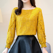 New Autumn Korean Flower Lace Hollow Out Long Sleeve Round Neck Blouse 2019 Embroidered Shirt blusas Women Tops 80A