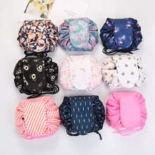 Women Drawstring Travel Cosmetic Bag Makeup Bag Organizer Make Cosmetic Bag Case Storage Pouch Toiletry Beauty Kit Box OC471 cheap NoEnName_Null Polyester 18cm Floral Cosmetic Cases zipper Fashion Barrel-shaped 120g Oxford cloth inch Solid Pillow 11*0 1