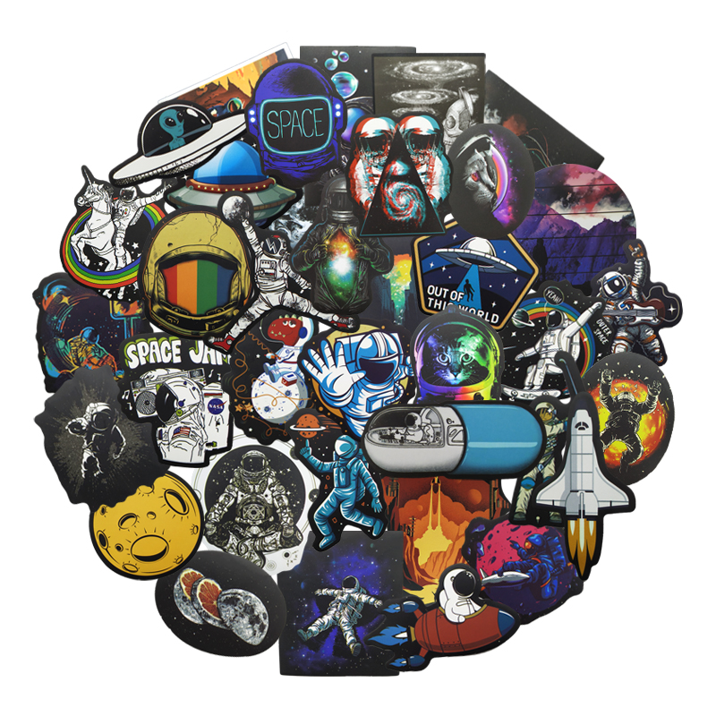 10/80 Pcs Universe Outer Space Stickers UFO Alien Astronaut for Laptop Skateboard Computer Guitar Kids Cartoon Sticker Decal Toy