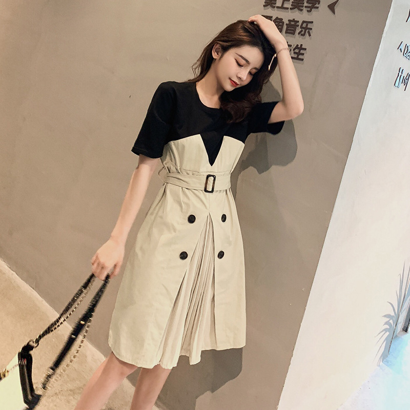 19 Korean version of the summer wild round neck a word dress short-sleeved stitching fake two-piece dress female hipster casual