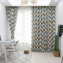 Современные и простые шторы для гостиной полиэстер-хлопок набивные ткани спальня
