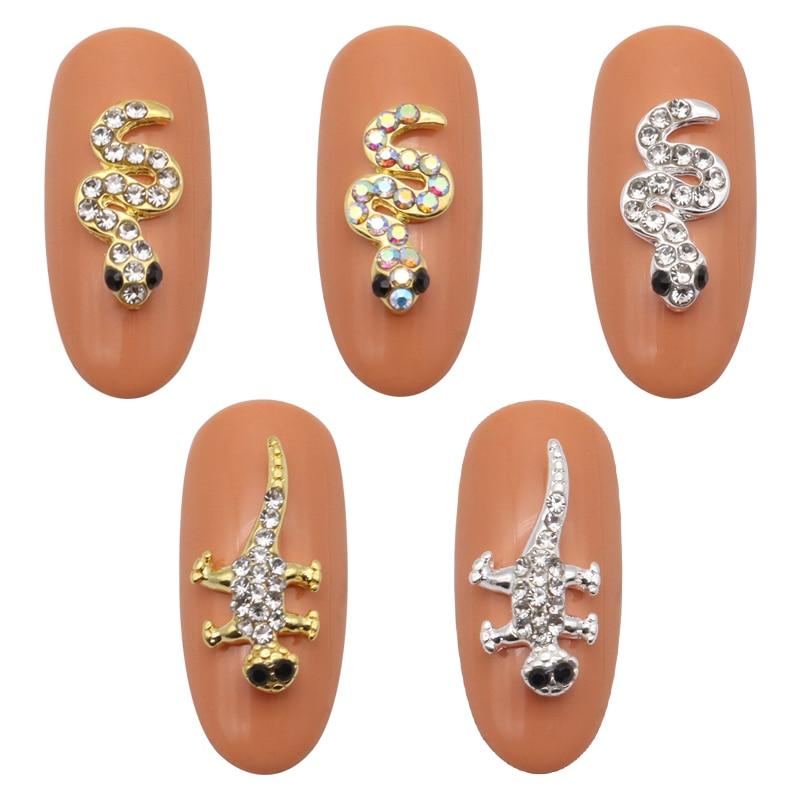 10 шт. 3D украшения для ногтей блестящие стразы покрытые золотой и серебряный Змея Дизайн Гекко Стразы сплав аксессуары для ногтей