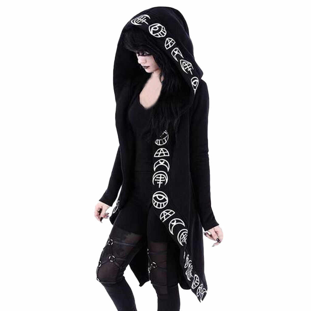JAYCOSIN  Dark system Jacket Women Long Sleeve Punk Wind Moon Print Hooded Black Cardigan Jacket Coat Plus Size Hooded  Cardigan