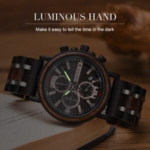 Image 2 - Relogio Masculino BOBO BIRD Wooden Watch Men Top Brand Luxury Stylish Chronograph Military Watches in Wooden Box reloj hombre