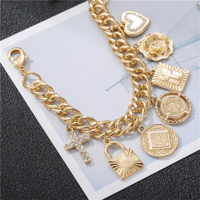 Золотой медный крест сердце женские браслеты амулеты модный браслет из цепочки для женщин браслет Femme подарок