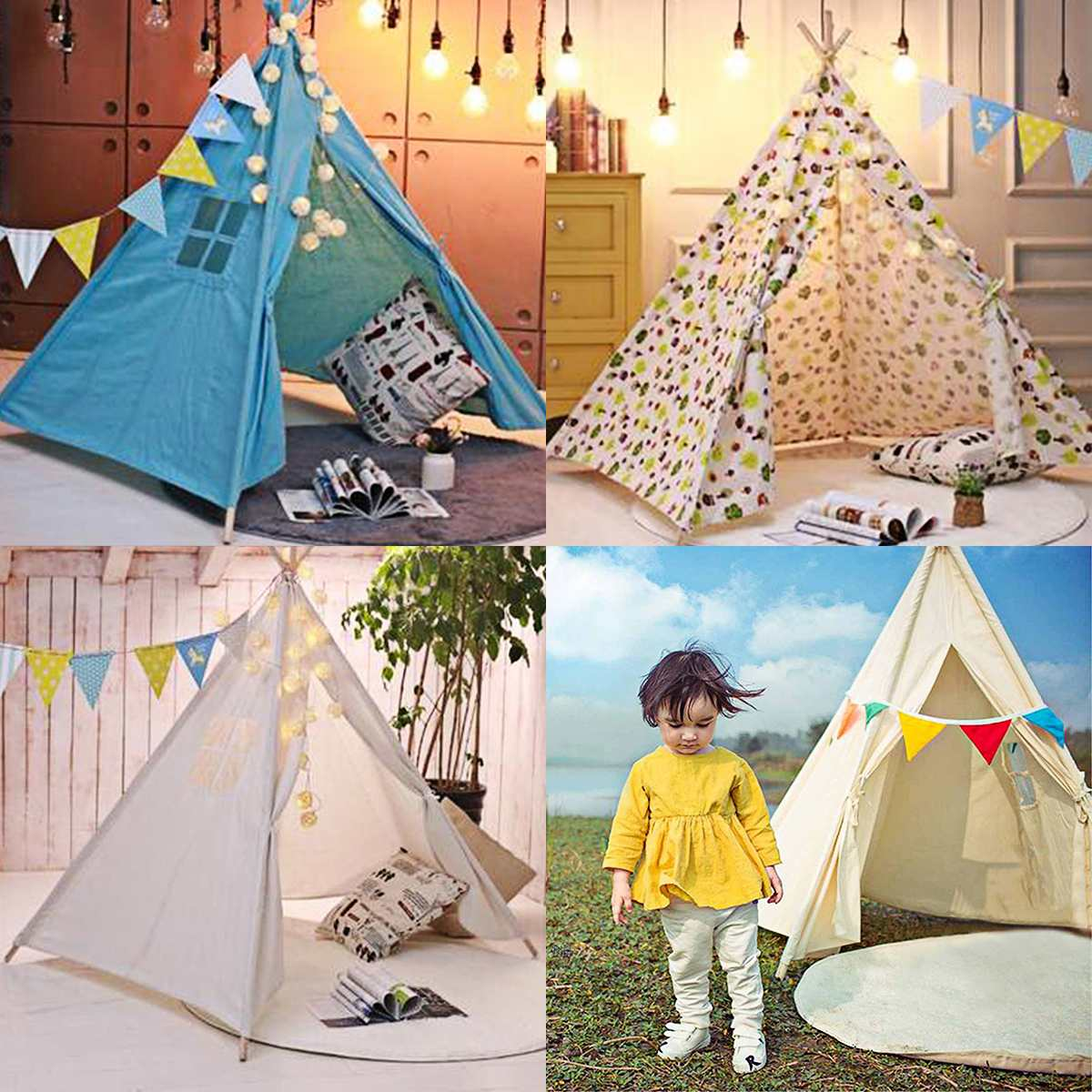 130cm/160cm/180cm Teepee Large Cotton Linen Kids Teepee Canvas Playhouse Indian Play Tent House White Children Tipi Tee Pee Tent
