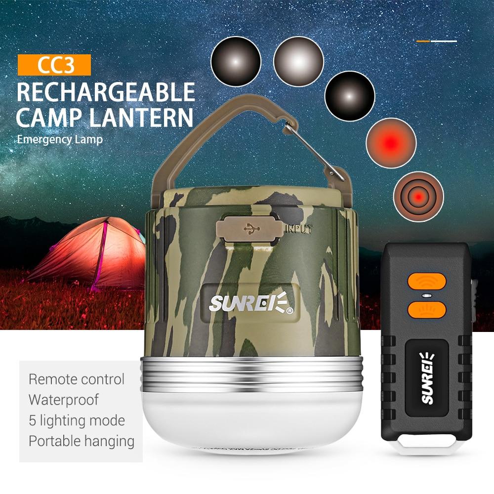 Sunrei cc3 recarregável ao ar livre acampamento lâmpada de emergência portátil à prova dportable água escalada led lanterna solar usb 9900 mah bateria