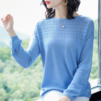 shintimes 2020 Autumn New Hollow Out Knitted Sweater Korean Fashion Sweater Pullover Loose Long Sleeve Woman Sweaters Pull Femme 2020 elegant knitted sweater dress women korean causal autumn spring hollow out long sleeve loose pullover long dress black
