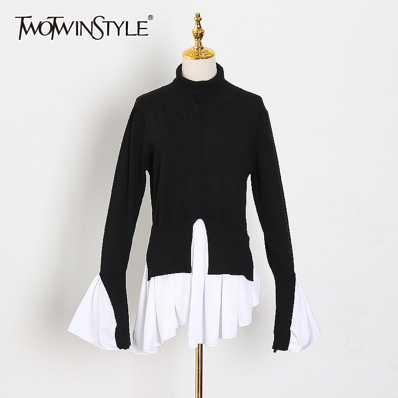 TWOTWINSTYLE Hit Color Sweater For Women Turtleneck Flare Sleeve Ruffle Irregular Hem Sweaters Female 2020 Spring Fashion New