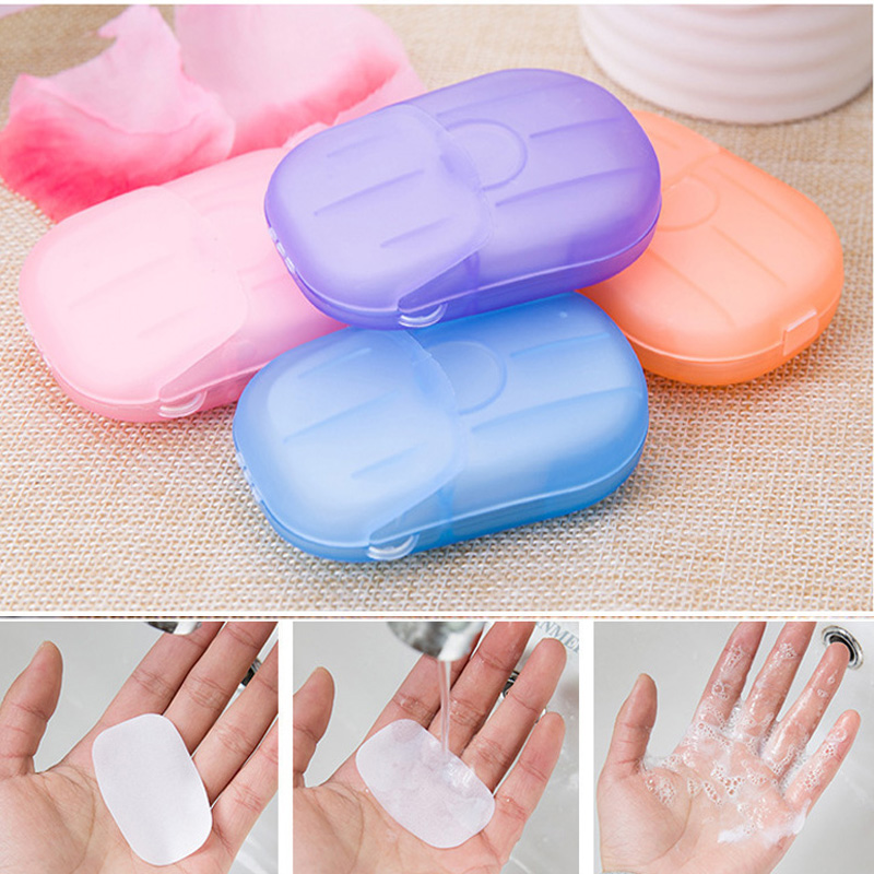 20Pcs/Box Disposable Travel Soap Mini Paper Soap Outdoor Travel Slice Sheets Cleaning Washing Hand Soaps Antibacterial Hand Care