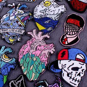 Нашивка в стиле панк Ecusson, термо-патчи с вышивкой для одежды, нашивки в виде сердца, нашивки на одежду, куртка, наклейка в полоску