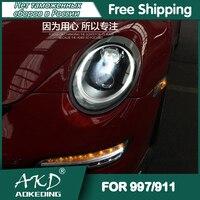 Dla samochodów Porsche 997 reflektory 2005-2008 DRL światła do jazdy dziennej LED Bi Xenon żarówki samochodowe światła przeciwmgielne akcesoria Porsche 911 lampa czołowa