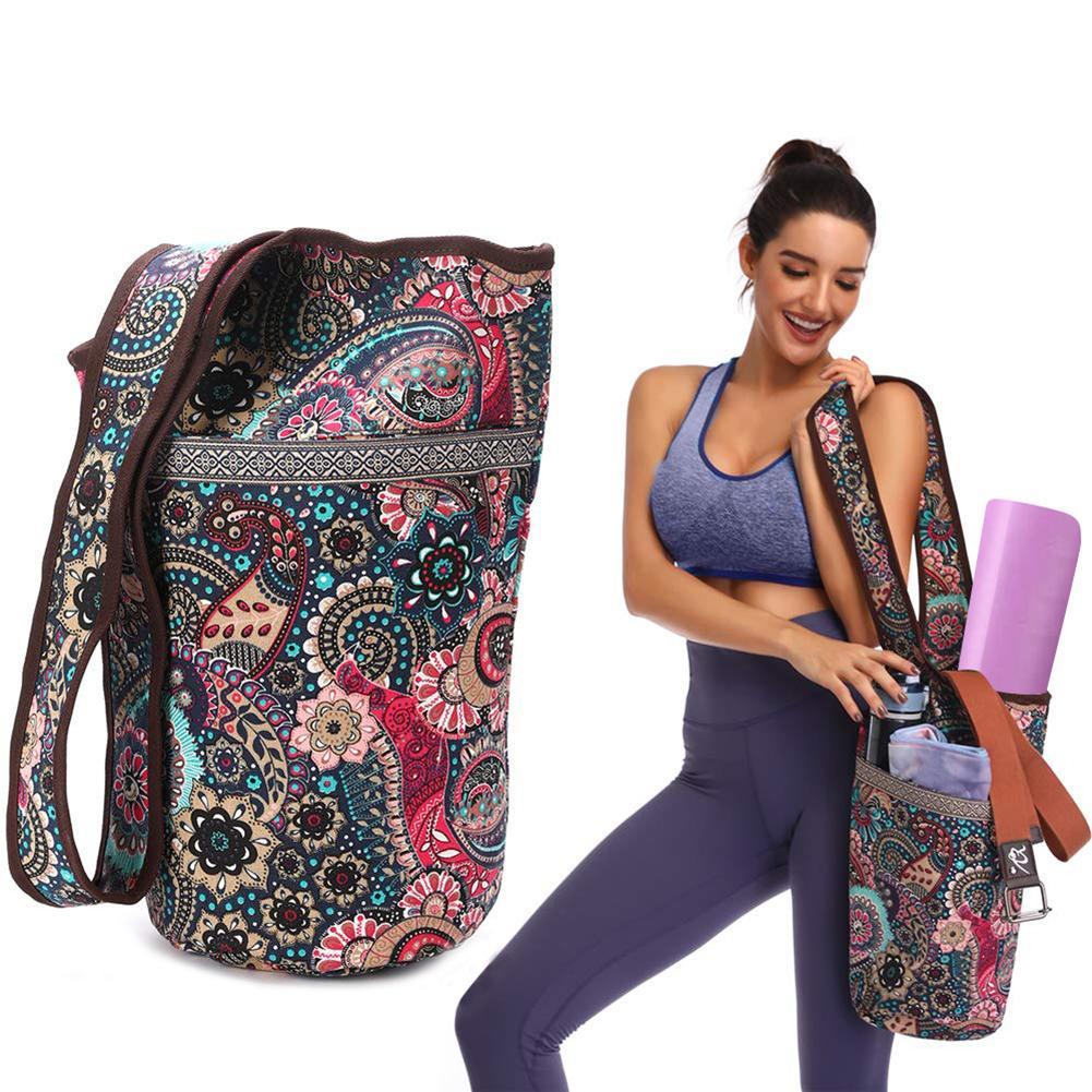 Printed Yoga Bag Canvas Waterproof Multi-function Storage Bag Yoga Mat Bag Portable Pilates Dance Yoga Backpack Fitness Mat Case