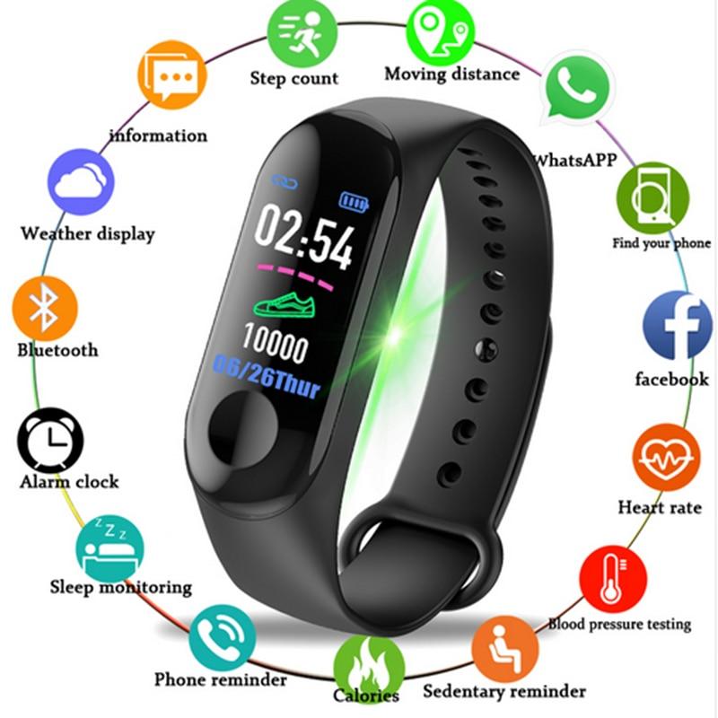 Pulsera de reloj inteligente M3 pulsera de Fitness Tracker mensajes recordatorio pantalla a Color pulsera deportiva resistente al agua para hombres y mujeres